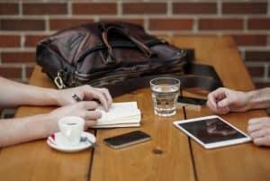 meeting with ipad and coffee