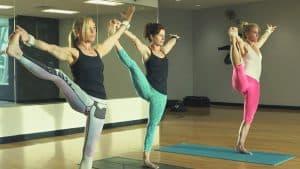 women stretching in gym