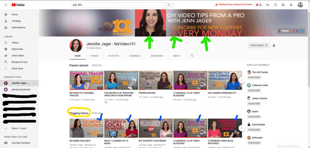 Example of a good YouTube Channel layout