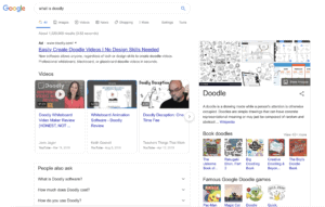 google search showing video results